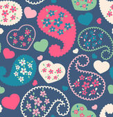 Seamless retro flower paisley with heart on background — Vettoriale Stock