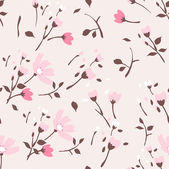 Seamless summer tiny floral pattern on pink background — Stock Vector