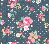 Seamless cute vintage floral pattern on blue background — Stock Vector