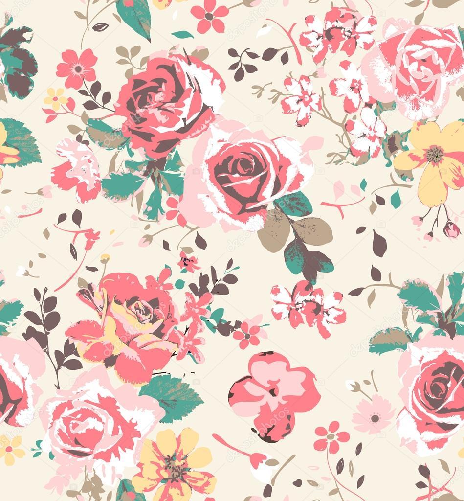 Nahtlose Tapete Vintage Rosenmuster Hintergrund — Stock ...