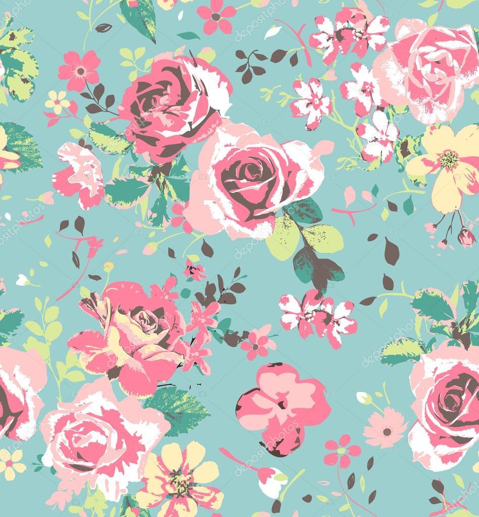 Seamless pink vintage rose pattern on green blue ...