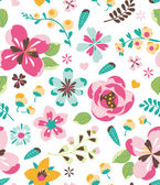 Seamless retro flower vector pattern background — Stock Vector