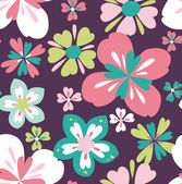 Seamless tropical vintage flower vector pattern on dot background — Stock Vector