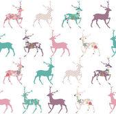 Elegant Christmas deer with flower seamless pattern background — Stockvektor