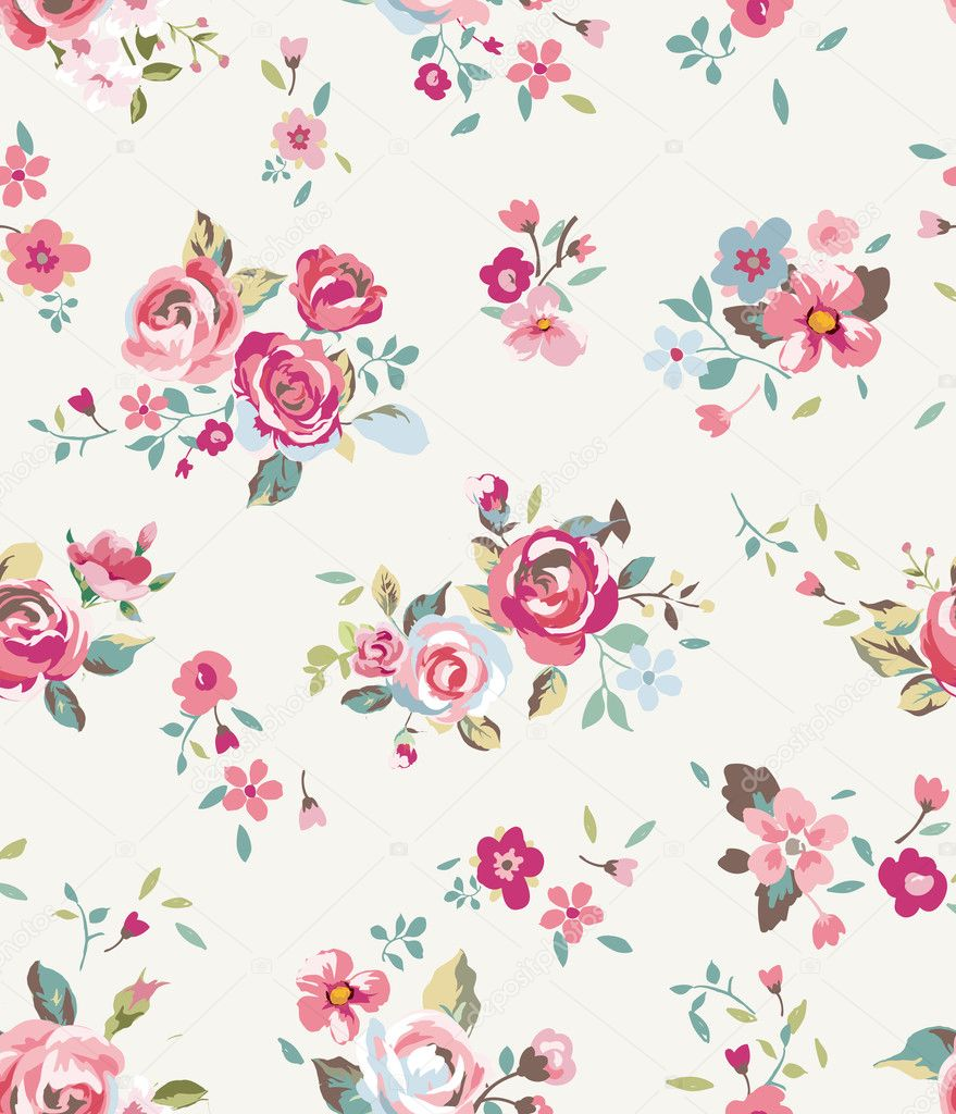 Tiny Vintage Cute Flower Vector Pattern Background