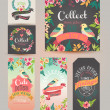 Greeting card romantic labels with flower — Vetor de Stock  #47814251