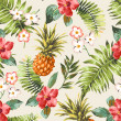 Vintage seamless tropical flowers with pineapple vector pattern background — Stock Vector