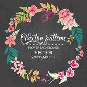 Set of flowers arranged un a shape of the wreath vector design — Stock Vector