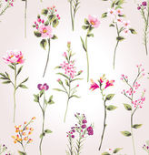 Vintage spring flower branch pattern background — Stock Vector