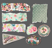 Vintage collection-old paper tears,labels in retro and vintage tropical style — Stock vektor