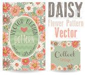 Greeting card daisy print vector design — Stock Vector