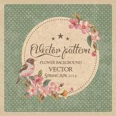 Vintage greeting card flower with birds vector pattern — Stok Vektör