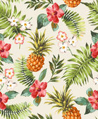 Vintage seamless tropical flowers with pineapple vector pattern background — Vector de stock