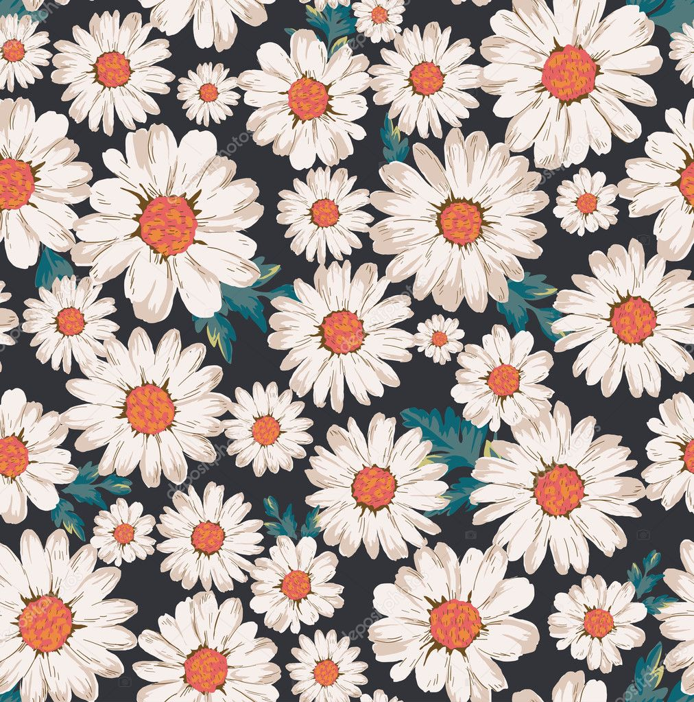 seamless flowerdaisy print pattern background � stock