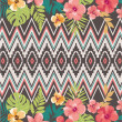 Ethnic mix tropical flower vector pattern background — Stock Vector