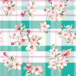 Seamless vintage flower pattern on check background — Stock Vector #47861545