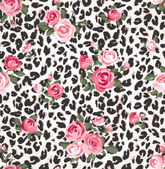 Cute rose seamless mix leopard vector pattern background — Stock Vector