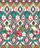 Seamless ethnic mix tropical flower vector print pattern — Stock Vector