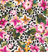 Seamless tropical flower with leopard background vector pattern — Stock Vector