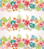 Stripe tropical flower vector seamless pattern background — Stock Vector