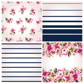 Set of four seamless tropical style flower and tripe vector pattern background — Cтоковый вектор