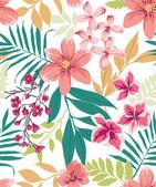 Seamless tropical flower ,plant vector pattern background — Stock vektor