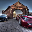 Постер, плакат: 2 Sport cars parked parked outside a building