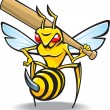 Stock Vector: Sting, wasp-baseball mascot