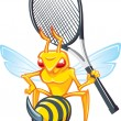 Stock Vector: Sting, wasp-tennis mascot