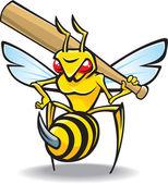 The sting, wasp-baseball mascot — Stock Vector