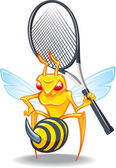 The sting, wasp-tennis mascot — Stock Vector