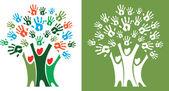 Árvore com mãos — Vetor de Stock