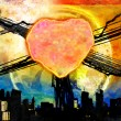 Abstract grunge painted heart over a dark city — Stock Photo