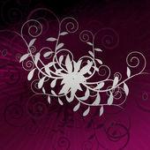 グランジの紫色のバーストに対して巻き毛グレー — ストック写真