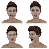 Pretty womans facial expressions - silly, smile, surprise and laughter — Stock Photo