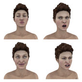 3d womans facial expressions on white background — Stock Photo