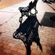 Stock Photo: Bench in plaza, SantFe, New Mexico