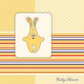 Gelber hase-baby-dusche-einladungskarte — Stockfoto