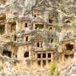 View of rock cut tombs of Myra Turkey — Stock Photo