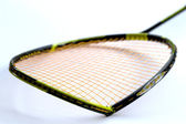 Broken badminton racket isolated on white — Stok fotoğraf