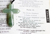 The cross on a bible passage — Stock Photo