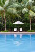Tropical resort swimming pool — Stock Photo