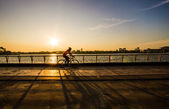 Sunset cycling — Stock Photo