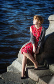 Charming red hair lady enjoys sun — Foto Stock