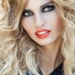 Portrait of young sexy woman with rock make-up and hairstyle — Stok fotoğraf