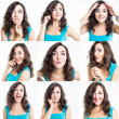 Collage of nine photos of sweet young woman showing different emotions — Stock Photo #31196695
