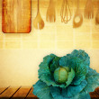 Cabbage on the kitchen table. — Stock Photo
