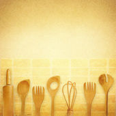 Wooden kitchen utensils. — Stock Photo