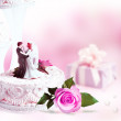 Wedding card with wedding cake and rose. — Stock Photo #25092321