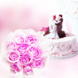 Wedding card with wedding cake and rose. — Stock Photo